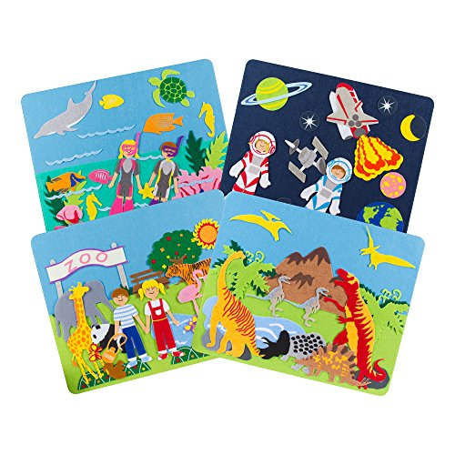 Sprogs Set of 4 Felt Storyboards w/Storage Bag, Diving, Dinosaurs, Zoo Animals, Outer Space, SPG-ENA1019-SO