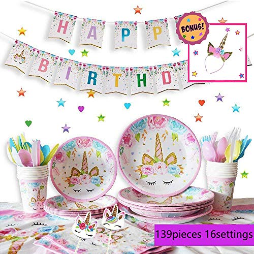 Vincrey Unicorn Party Supplies Set - Girls Birthday Decorations Set Decor Theme Magical Rainbow Princess Tableware Pack - Includes: Big and Small Plates, Tablecloth, Banner, Napkins, Cups, Forks, Knives, Spoons (Serves 16)