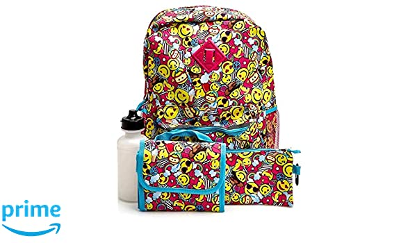 Amazon.com: The Confetti Brand Girls Emoji 5 Piece Backpack Set - Kids: Home & Kitchen