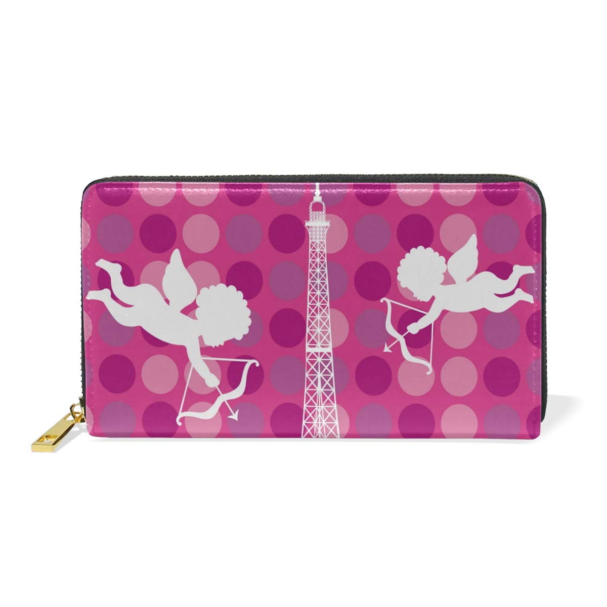 color3 Genuine Leather Women's Around Zip Wallet Paris Eiffel Tower Travel Illustration Purse Clutch Card Holder for Girl