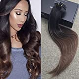 Full Shine 20'' 10 Pcs 140 Gram Full Set Clip in Hair Extensions Color #1B Fading to Color #4 Dark Brown Clip in Hair Extensions Balayage Remy Extensions