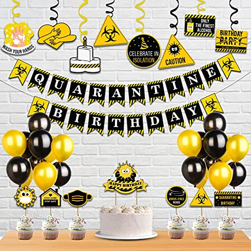 Festiko™ Happy Quarantine Theme Birthday-Social Distancing Party at Home Decorations for 1st/Age Birthday/Anniversary/Babyshower Party(Banner+Swirls+Latex Balloon+Cake Topper Combo)