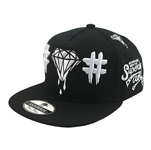 Amazon.com  Bayto Fashion New Snapback Hats Unisex Diamond Baseball Cap  Black Canvas Bboy Hat  Clothing f61f34f5b891