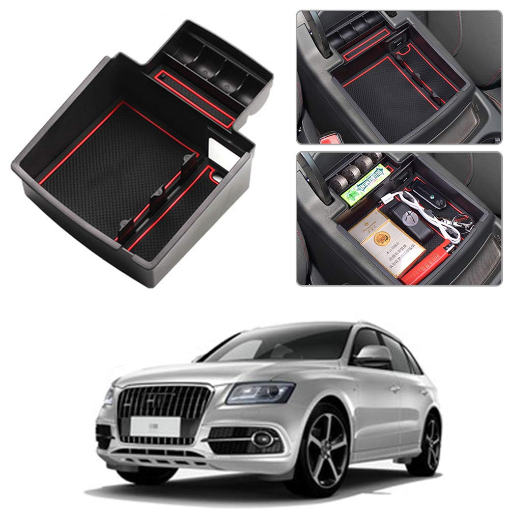 Secondary Storage Liner Accessories Custom Fit Cup Armrest Box for Audi Q5 Center Console Organizer Insert ABS Black Materials Tray