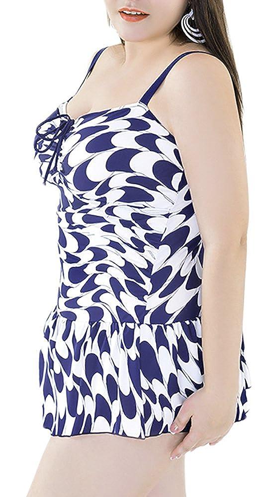 QZUnique Women's Plus Printed Swimsuit Swimdress Beachwear with Skirt SH-W5151