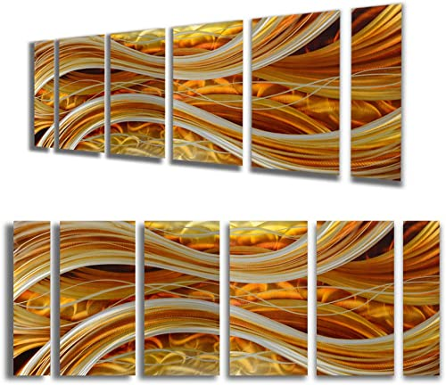 Yihui Arts Large Metal Wall Art, Soft Dark Orange Wall Sculptures, Panel Art, Abstract, Modern Contemporary Design for Home Wall Decor 32x65IN