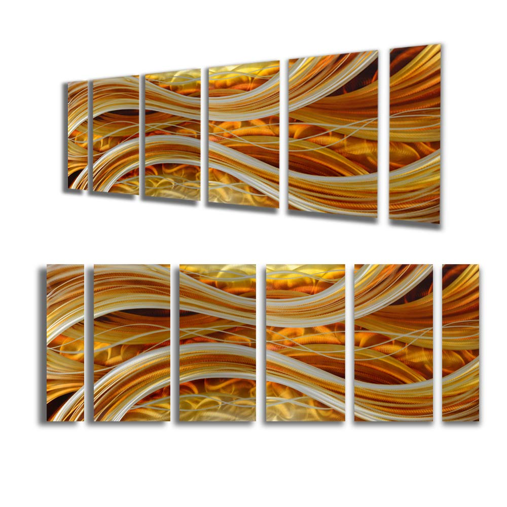 Yihui Arts Handmade Abstract Group Contemporary Metal Wall Art with Soft Color for Living Room 3D Wall Decor (24 x 65 in)