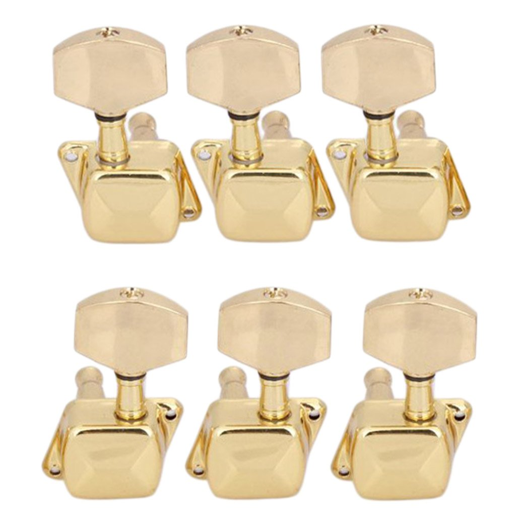 Dovewill 6 Pieces 3R 3L Gold Semi-closed String Tuning Pegs Locked Tuners Machine Heads for Acoustic Guitar Parts