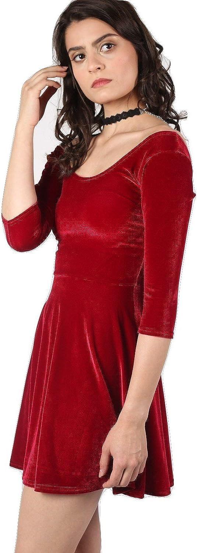 8 Pilot Amelia 3//4 Sleeve Velvet Skater Dress in Red
