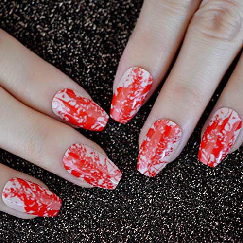 Nude Coffin Fake Nails Medium size Red Bloody Ballerina Press On Fingernails Halloween Nail Art ()