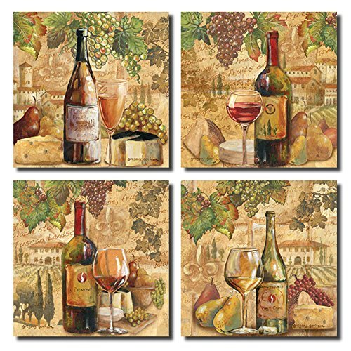 Tuscany Italian Gourmet Food (Tuscan Harvest; Rustic Italian Wine Cheese Grapes Vineyard; Four 12x12in Poster)