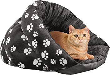 Collections Etc Paw Print Pet Cuddler Cave Bed, Plush Padded Cover, Black and White, Black