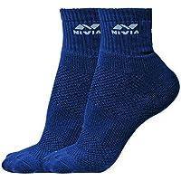 Nivia SS852 Sports Cotton Low Ankle Socks, Men's Large (Navy)