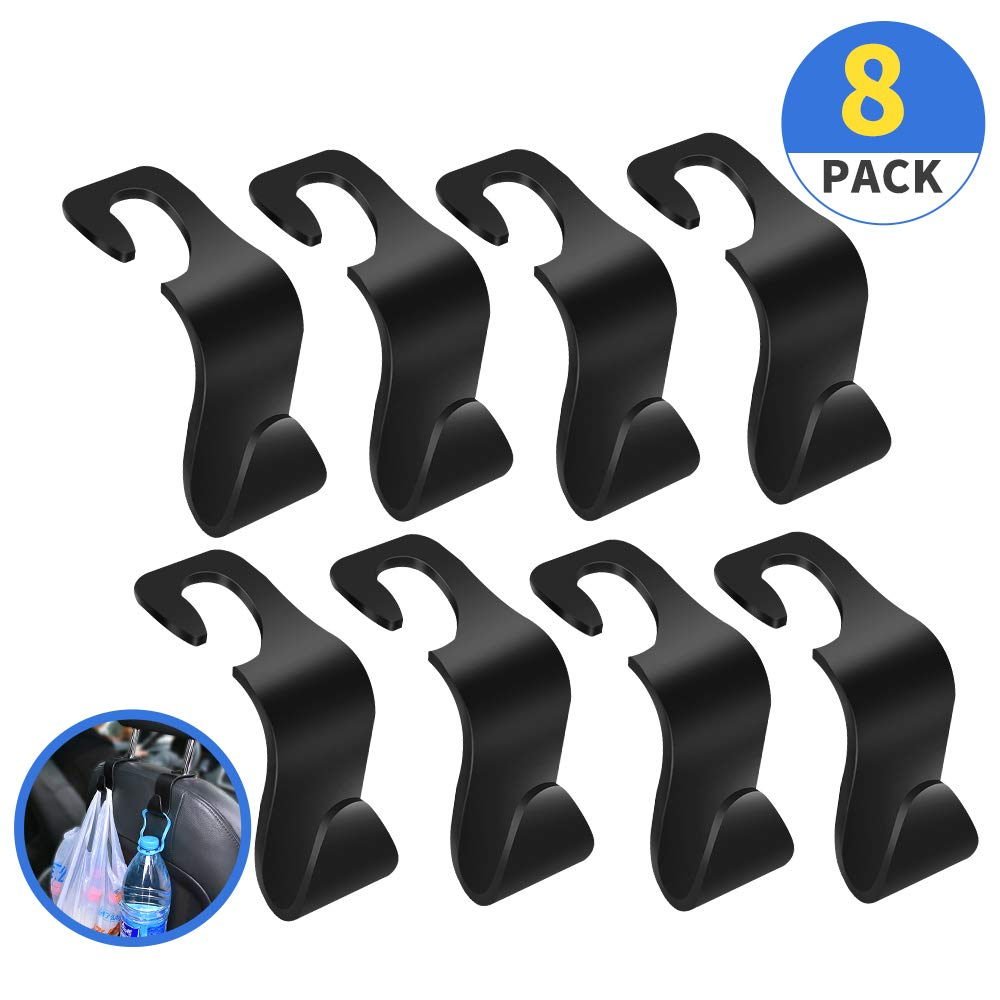 lebogner Car Seat Organizer Headrest Hooks Universal Vehicle Car Seat Back Headrest Accessories 4 Pack Strong and Durable Auto Backseat Hanger Storage for Handbags Coats Purses and Grocery Bags