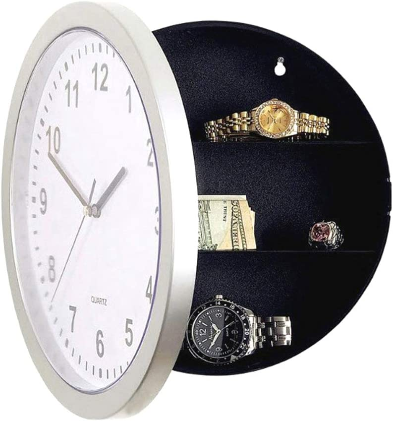 Festnight Round Wall Clock Safe Box Home Multifunctional Analog Clock with Secret Interior Storage