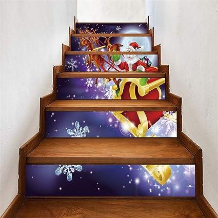 Sixcup 3D - Papel Pintado Adhesivo para escaleras, diseño de Papá Noel, K, 18x100cm: Amazon.es: Hogar