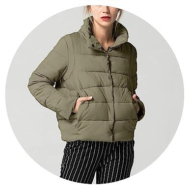 Jifnhtrs Stand Collar Basic Jacket Coat Warm Winter Jacket Women Slim Thick Outerwear,Army Green