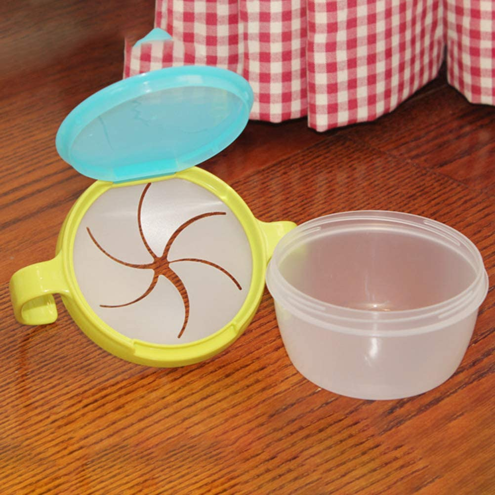 Cavestoff Double Handle Plastic Snack Catcher Cup Jar Self Feeding Bowl Spill-Proof Biscuits Container Box with Lid for Baby Toddler Kids