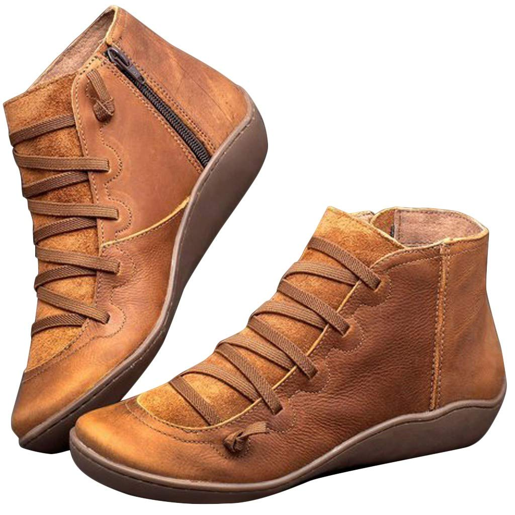 BaZhaHei Bottines en Simili Cuir Souple Femme Cheville Bottes Talon Plat Confortable Automne Vintage Chaussures Botte Basses /à Glissi/ère