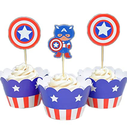 Set Of 12 Toppers Captain America Edible Cupcake Toppers Decoration Kitchen, Dining & Bar Other Baking Accessories