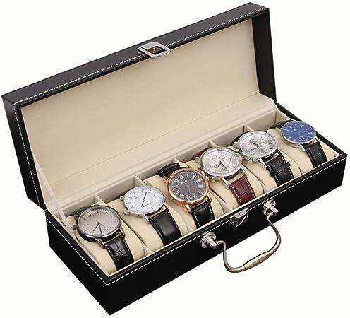 GOVD Caja Relojes Mujer con Tapa de Cristal Estuche Relojes con Almohadillas Extraíbles, Negro: Amazon.es: Hogar