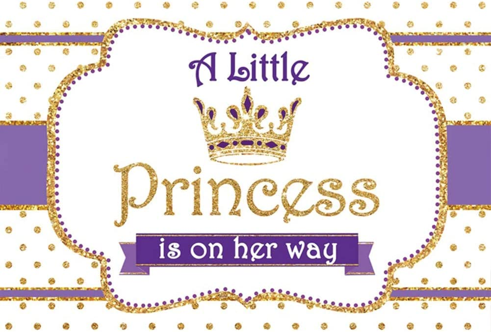 DORCEV 7x5ft Alittle Princess is on her Way Photography Backdrop for Princess Theme Girls Birthday Party Baby Shower Background Shing Gold Spots Crow Party Banner Newborn Kids Photo Studio Props