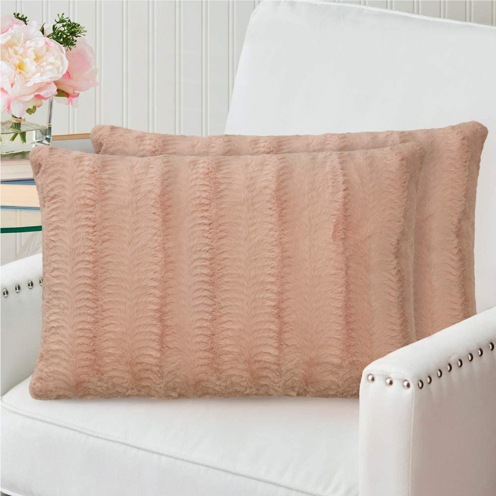 The Connecticut Home Company Original Faux Fur Pillowcases, 12x20 Set of 2, Decorative Case Sets, Many Colors, Throw Pillow Covers, Luxury Soft Cases for Bedroom, Living Room Sofa, Couch, Bed, Beige