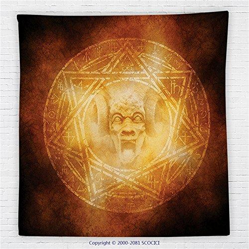 59 x 59 Inches Horror House Decor Fleece Throw Blanket Demon Trap Symbol Logo Ceremony Creepy Ritual Fantasy Paranormal Design Blanket Orange by iPrint