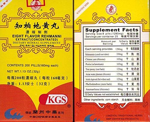 Eight Flavor Rehmanni Extract (Zhi Bai Di Huang Wan) x 12 BOTTLES