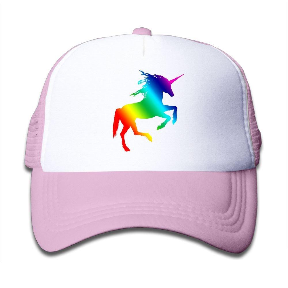 Youth Toddler Baseball Cap,Rainbow Unicorn Meshback Cap Sports Trucker Hat