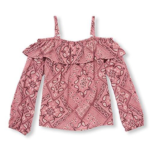 The Children's Place Big Girls' Long Sleeve Off The Shoulder Bandana Print Woven Shirt, Flora, XL (14)