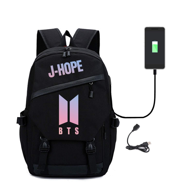 a6bb92a8dadc Kpop BTS Bag Bookbag College Bag School Bag Backpack with USB Charging Port