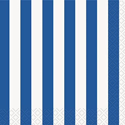 Royal Blue Striped Beverage Napkins, 16ct: Cocktail Napkins