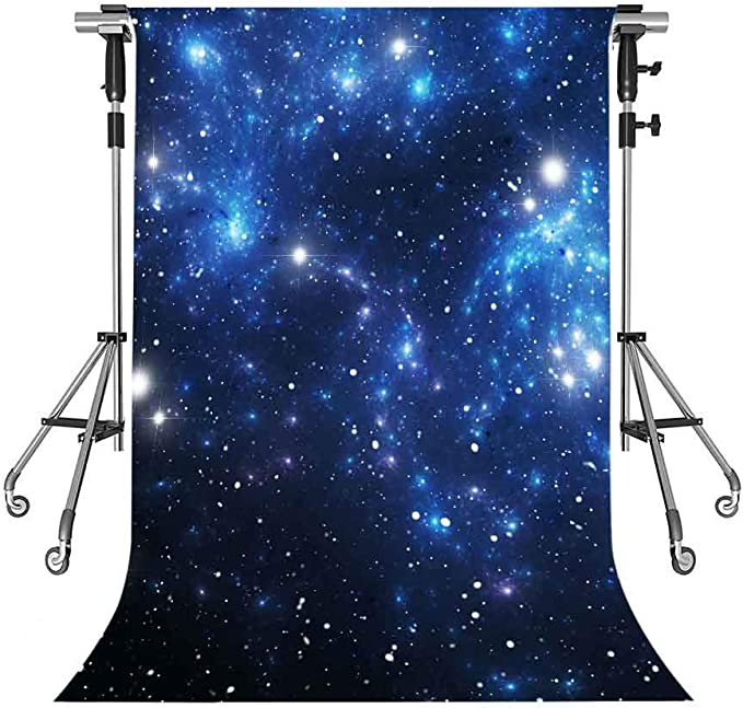 MEETSIOY UFO Photography Backdrop Night Light Grass Forest Blue Background Themed Party Photo Backdrop 3x5ft HXMT335
