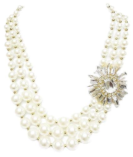 Buy mehrunnisa fashion crystal side pendant with triple strand mehrunnisa fashion crystal side pendant with triple strand pearls necklace for women jwl740 mozeypictures Images