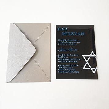 Amazon customized 5x7inch 3mm thick black acrylic jewish bar customized 5x7inch 3mm thick black acrylic jewish bar mitzvah invitation card party invitation card 100pcs per stopboris Gallery