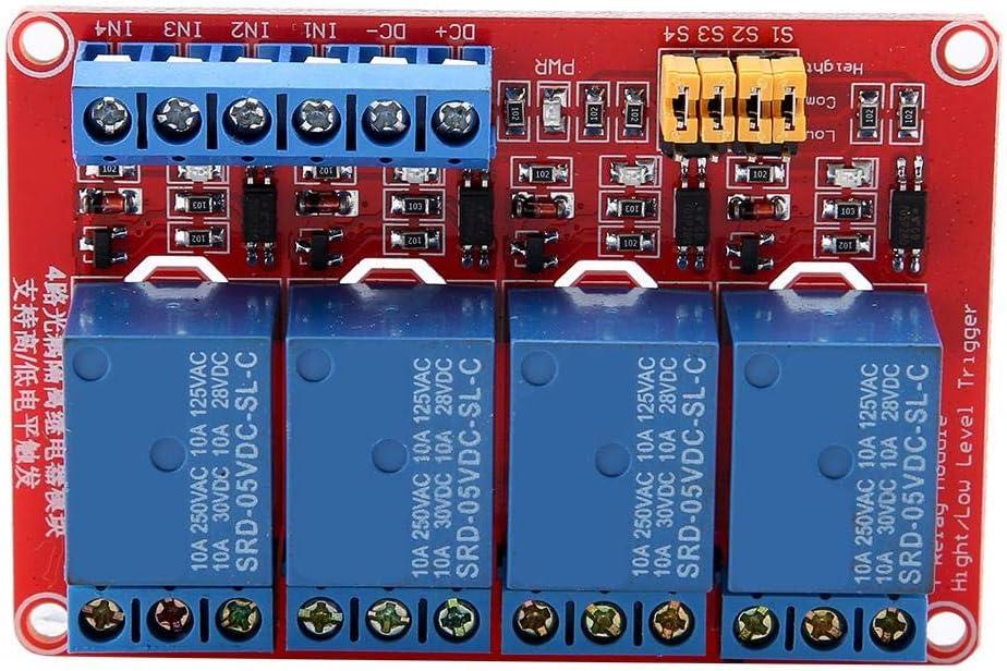 Módulo de relé de 4 canales de 5V / 12V / 24V, placa de módulo de relé optoacoplador de disparo alto y bajo para Arduino(5V)