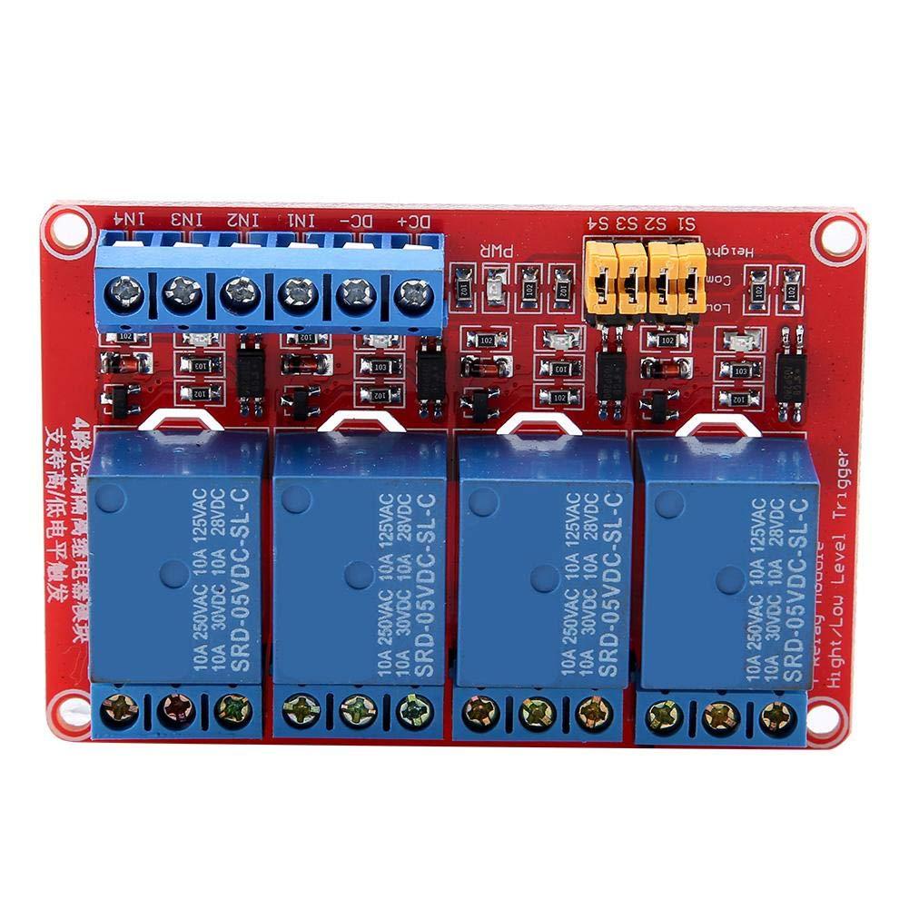 Tablero de relais, Keenso Módulo de relé de 4 canales con optoacoplador Tarjeta de expansión de disparo de bajo nivel para Arduino 5V / 12V / 24V(5V)