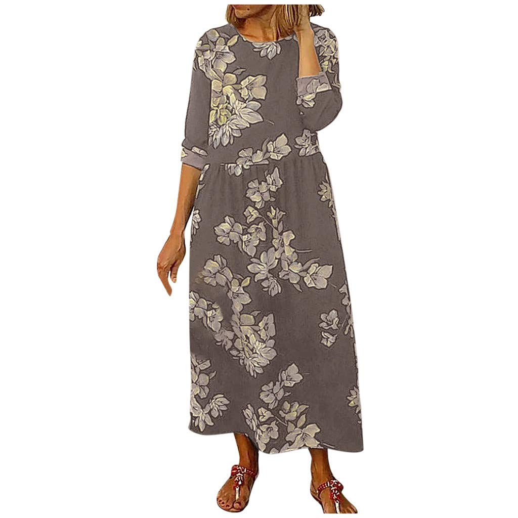 SEXYTOP 2019 Women Casual Dresses Round Neck Floral Print Long Sleeve Loose Swing Elegant Maxi Dress Vestidos Brown by SEXYTOP