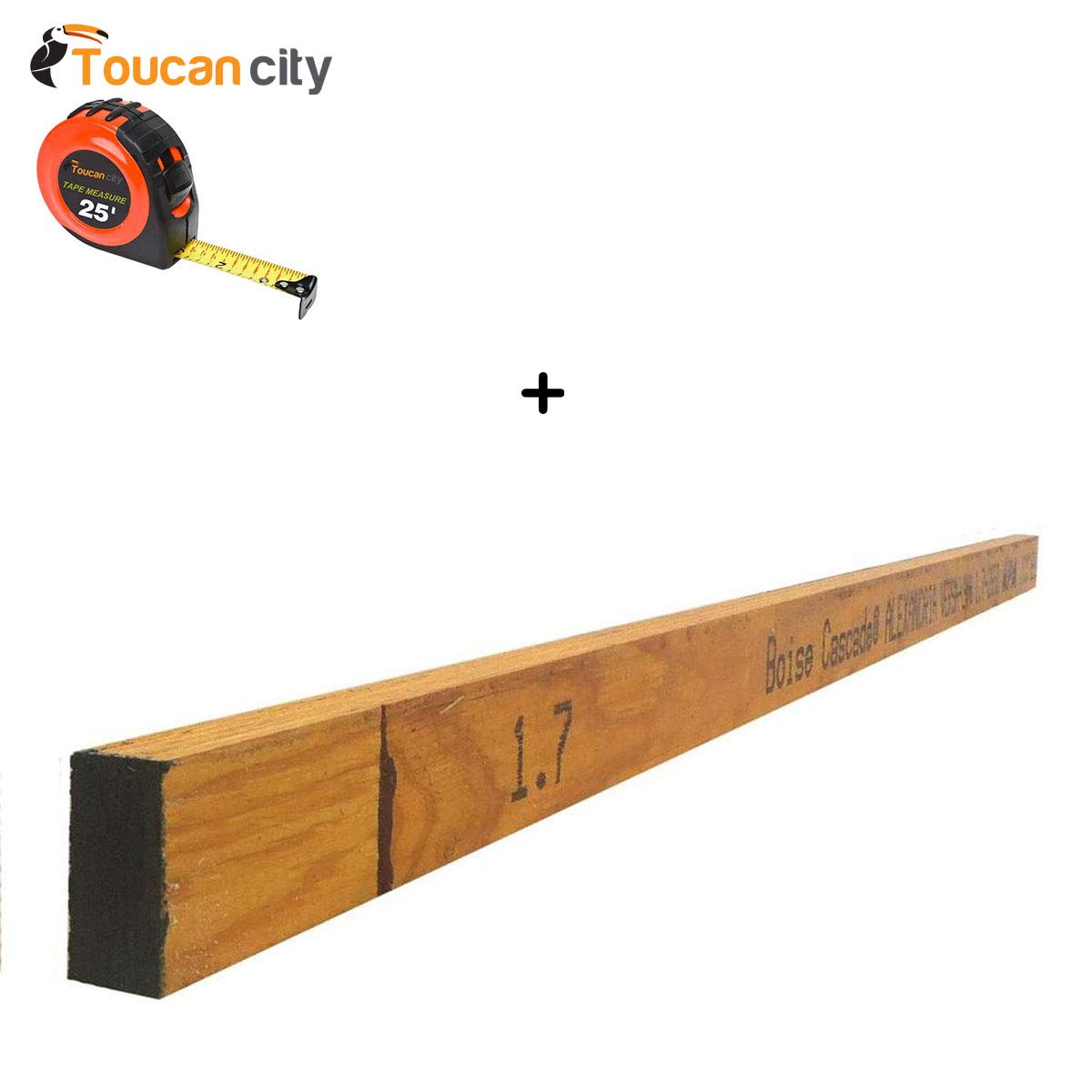 Toucan City Tape Measure and Boise Cascade 2 in. x 4 in. x 8 ft. Versa-Stud LVL SP 2650 1.7 (3-Piece per Box) 2112003