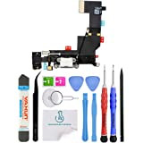 OmniRepairs-For iPhone 5s Model A1533, A1453, A1457, A1528, and A1530 Charging Lightning USB Dock Port Flex Cable Replacement with Microphone, Headphone Audio Jack Assembly with Repair Toolkit (White)