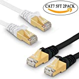 Cat 7 Ethernet Cable 5 ft 2 Pack - Fastest Cat7 Flat Ethernet Patch Cables 10GB - Internet Cable for Modem, Router, LAN, Computer, Switch - Compatible with Cat 5e, Cat 6 Network