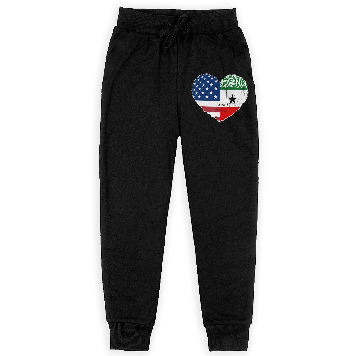 WYZVK22 Somaliland USA Flag Heart Soft//Cozy Sweatpants Youth Sweat Pant for Teenager Girls