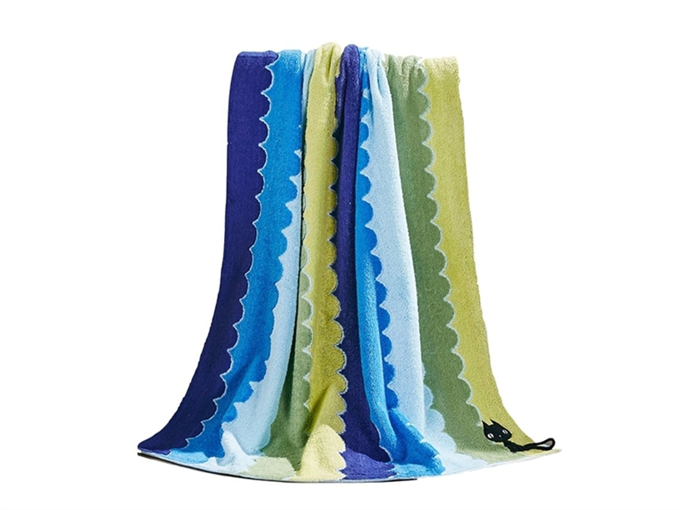 Wesource Activates Cartoon Stripe Cat Cotton Adult Bath Towel Soft Absorbent Couple Wash Bath Towel Household (Blue)