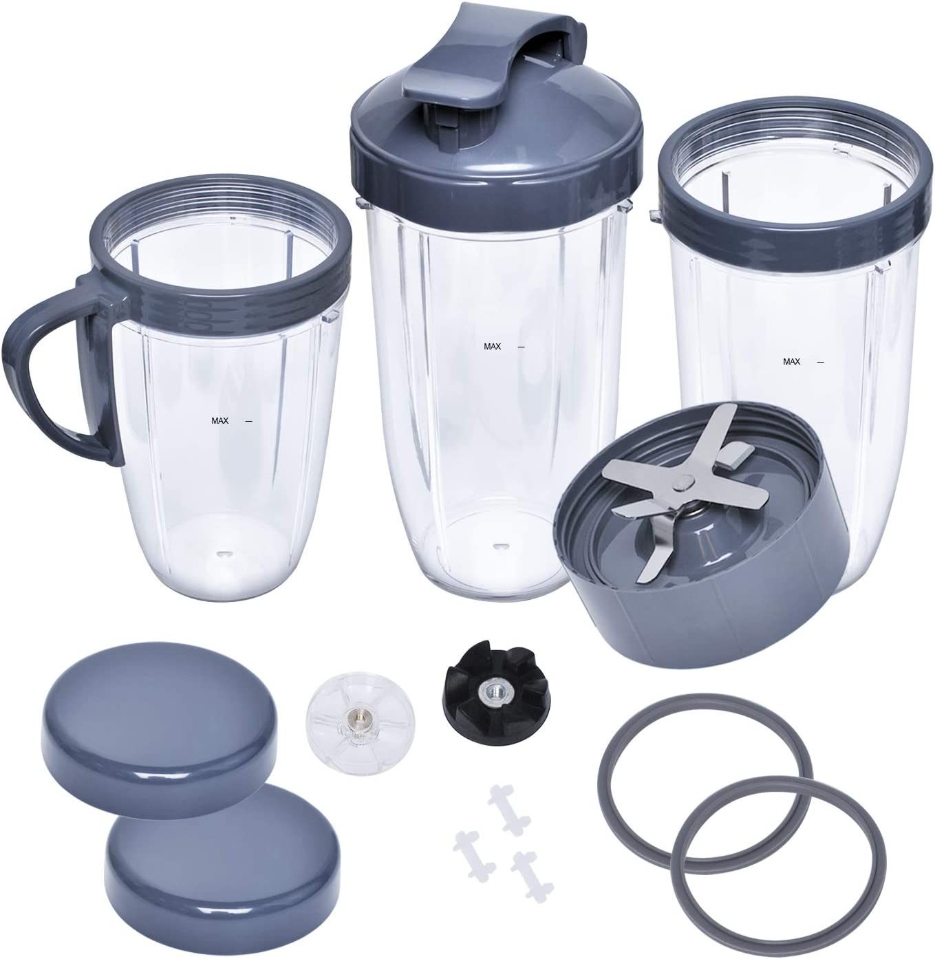 Upgraded Accessories Compatible with Nutribullet Blade & Lids & Gear Set & Gaskets & Shock Pad & 18/24/32oz Cups Compatible with Nutribullet 600W/900W High-Speed Juicer Blender Replacement Parts