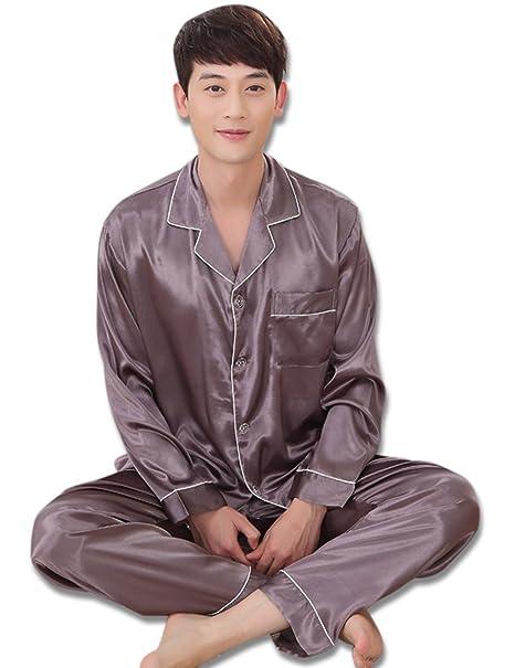 Conjuntos de pijama para hombres, chándal de seda cómodo de manga larga para hombres,