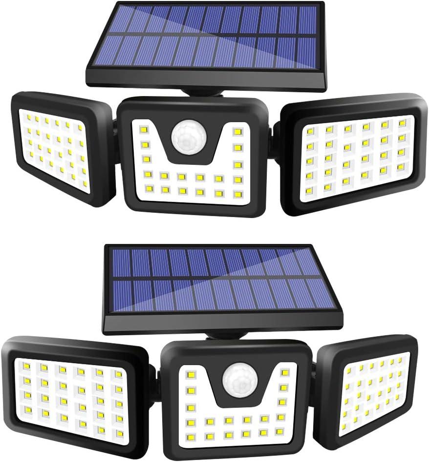 Solar Lights Outdoor, ZHUPIG 3 Adjustable Heads Solar Powered Outdoor Lights, 800LM 6000K Solar Motion Sensor Light Outdoor, IP65 Waterproof, Wide Angle Illumination for Garage, Garden and Pathway