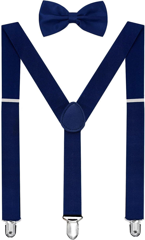 Boy Girl Solid Color Clip-on Suspenders Elastic Adjustable Braces with Bow Tie Y