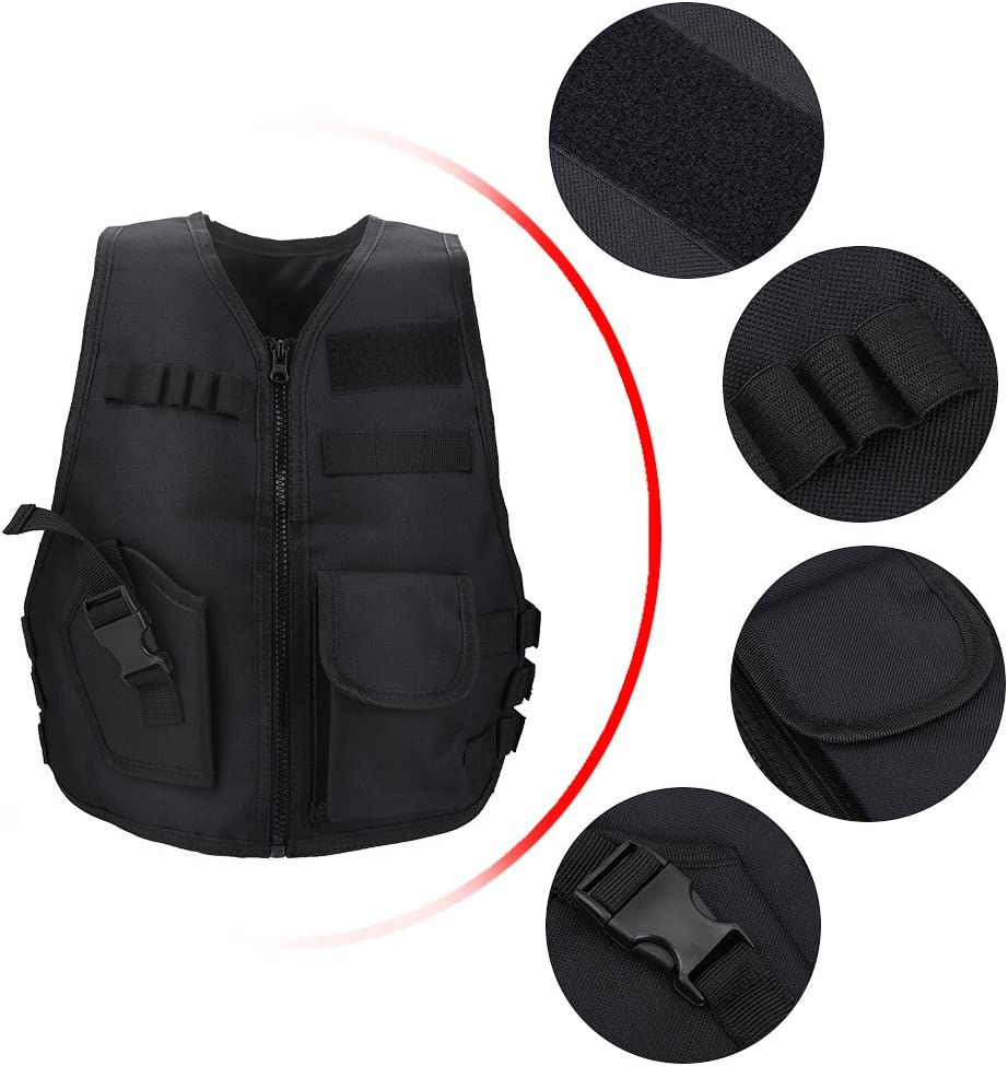 Black Focket Children Vest,600D Oxford Cloth Breathable Children Kids Vest Adjustable Protective Waistcoat,Wear-resistant Tear-resistant for Outdoor Combat Games