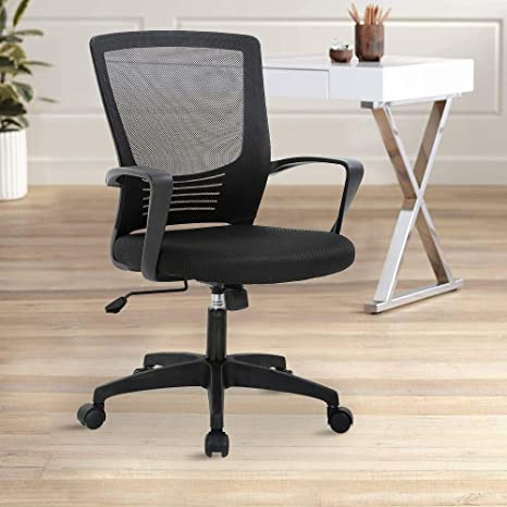 Ergonomic Mesh Office Chair Mid Back Computer Desk Chair Height Adjustable Swivel Task Chair For Teens Children Adults With Lumbar Support Arms And 360 Degree Caster Kitchen Dining
